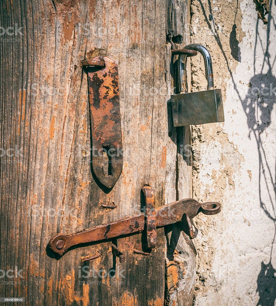 Vintage rustic security system stock photo