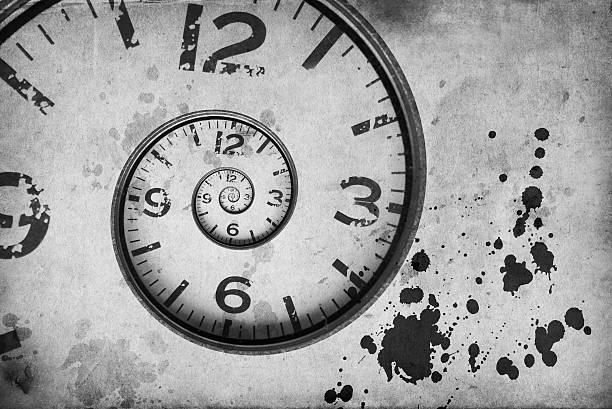 vintage Rusty clock swirl stock photo