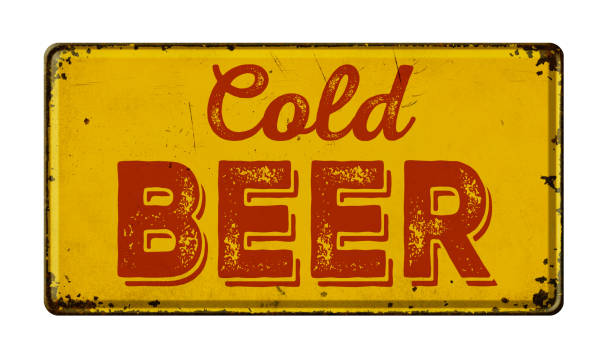 Vintage rusty metal sign on a white background - Cold Beer stock photo
