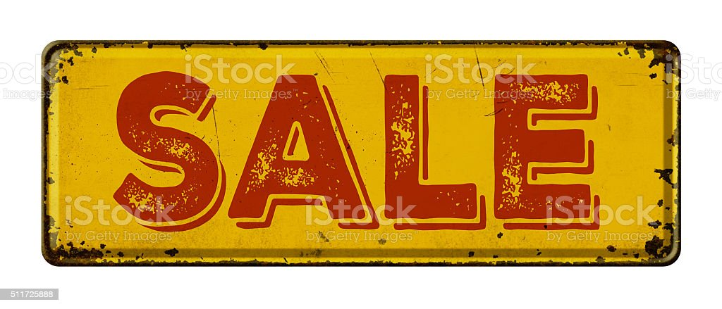 Vintage rusty metal sign on a white background - Sale stock photo