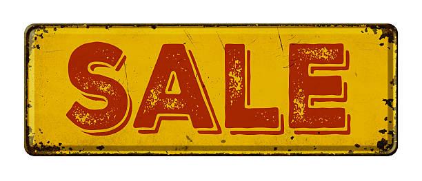 retro rostigen metall schild auf ein weißer hintergrund-sale - teller kaufen stock-fotos und bilder