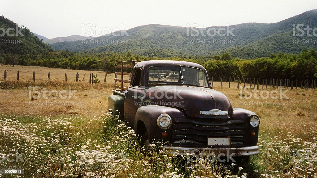 vintage rusty truck lake district chile stock photo