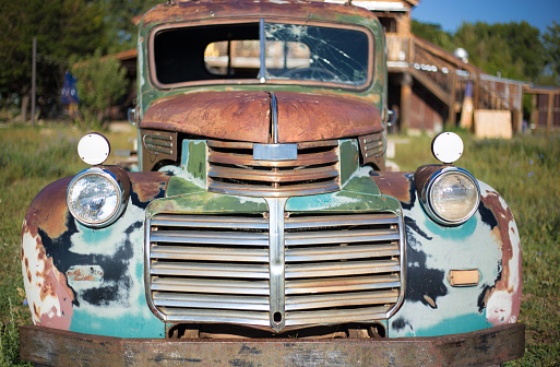 Vintage Rusty Turquoise Pickup Truck. Shot in Taos, NM.