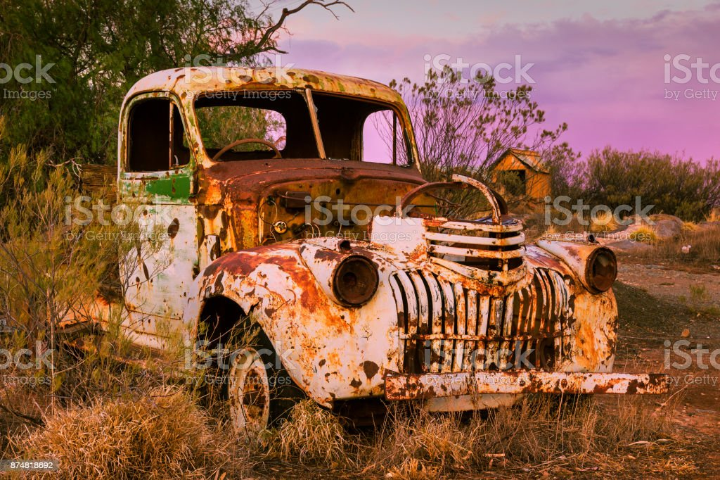 Vintage rusty wreck of a class truck in outback Australia. stock photo