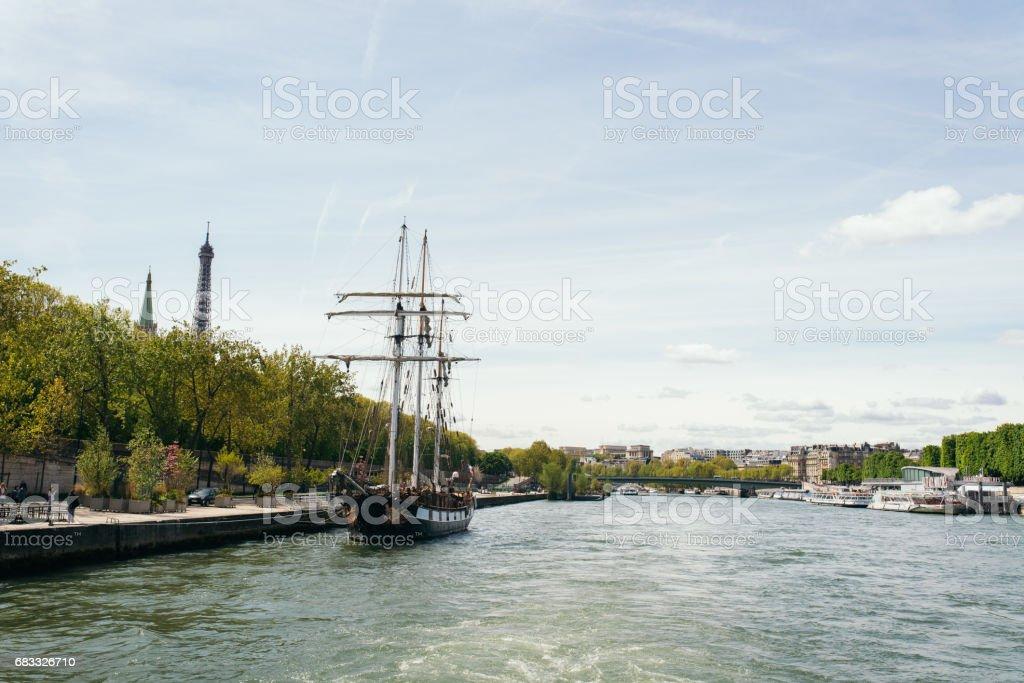 Vintage sail ship moored on River Seine in Paris, France royaltyfri bildbanksbilder