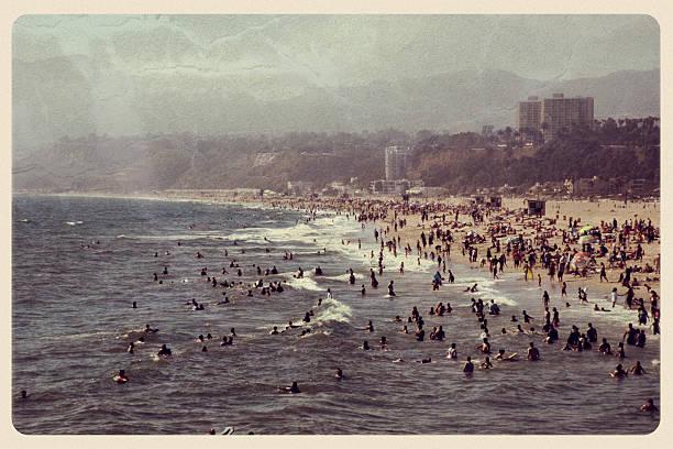 Vintage Santa Monica Postcard - California stock photo