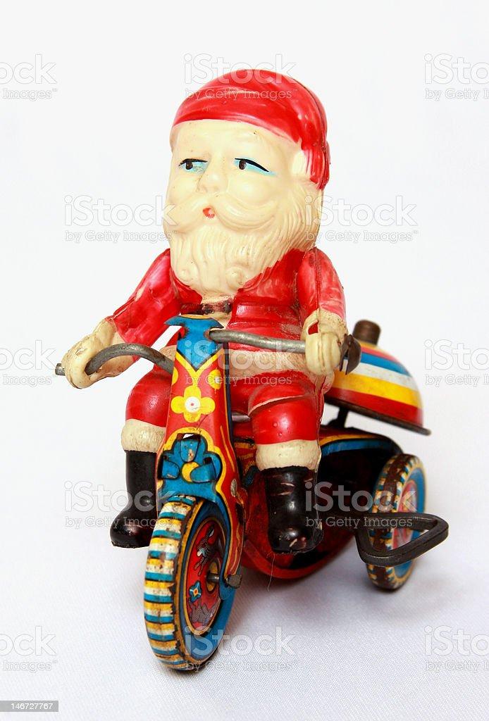Vintage Santa on Motorcycle stock photo