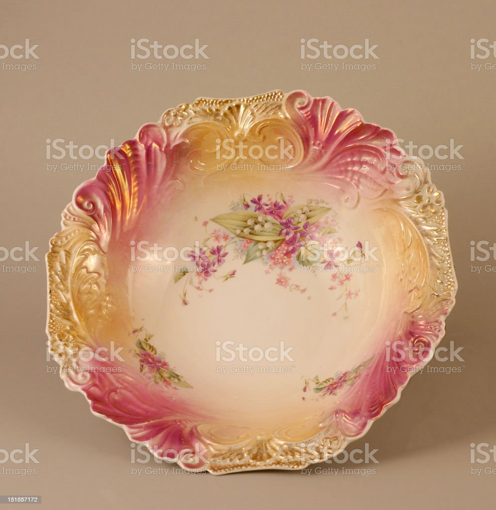 Vintage Scalloped Rim Floral Bowl royalty-free stock photo