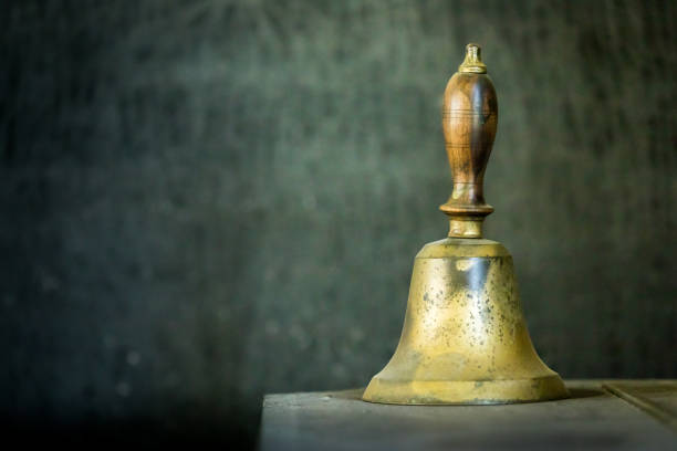 vintage school bell - bell stock pictures, royalty-free photos & images