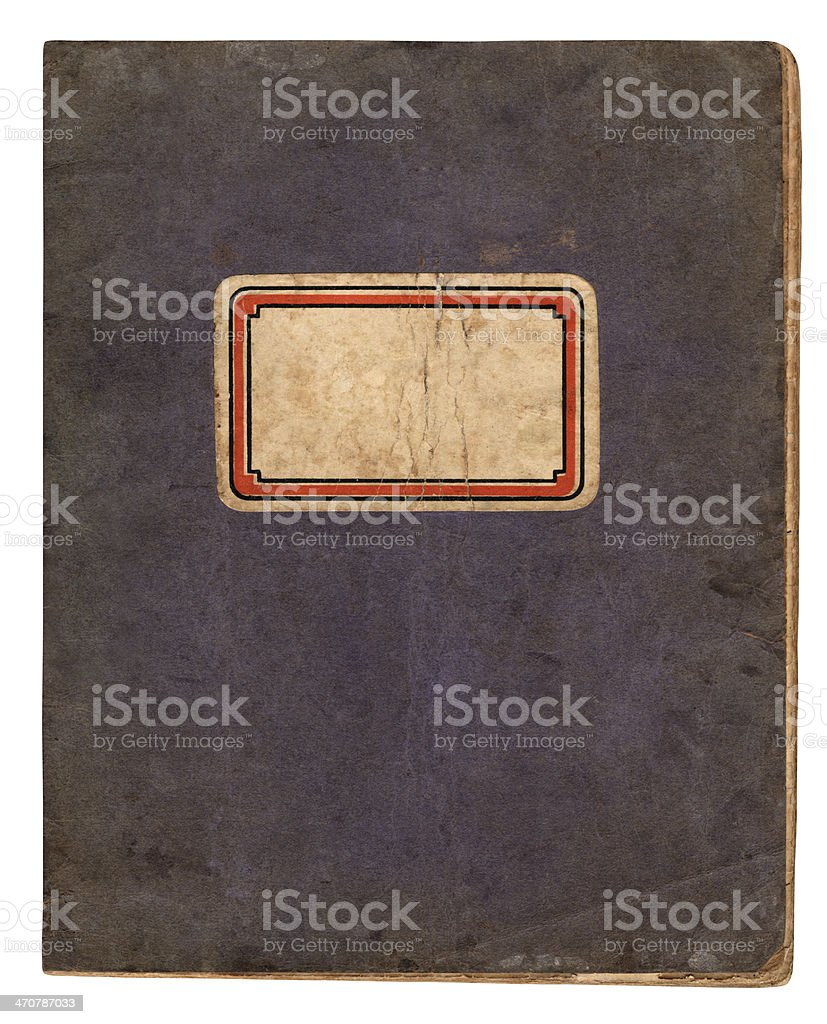 Vintage school book with name label stock photo