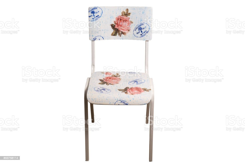Vintage school chair decorated with decoupage technique. stock photo