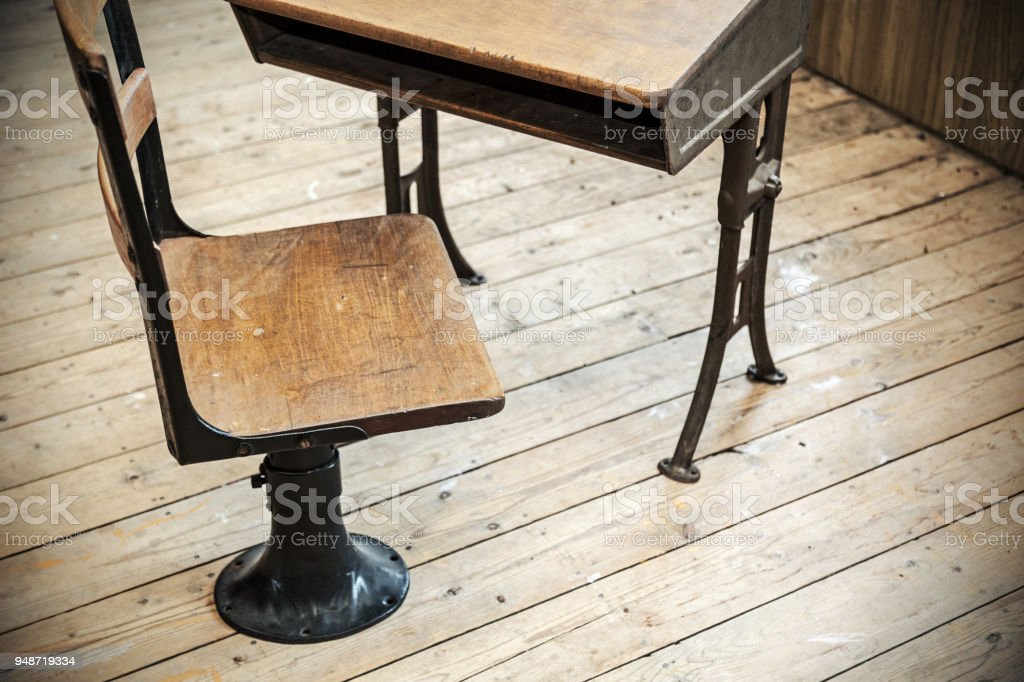 Vintage School Desk And Chair Stock Photo More Pictures Of Antique