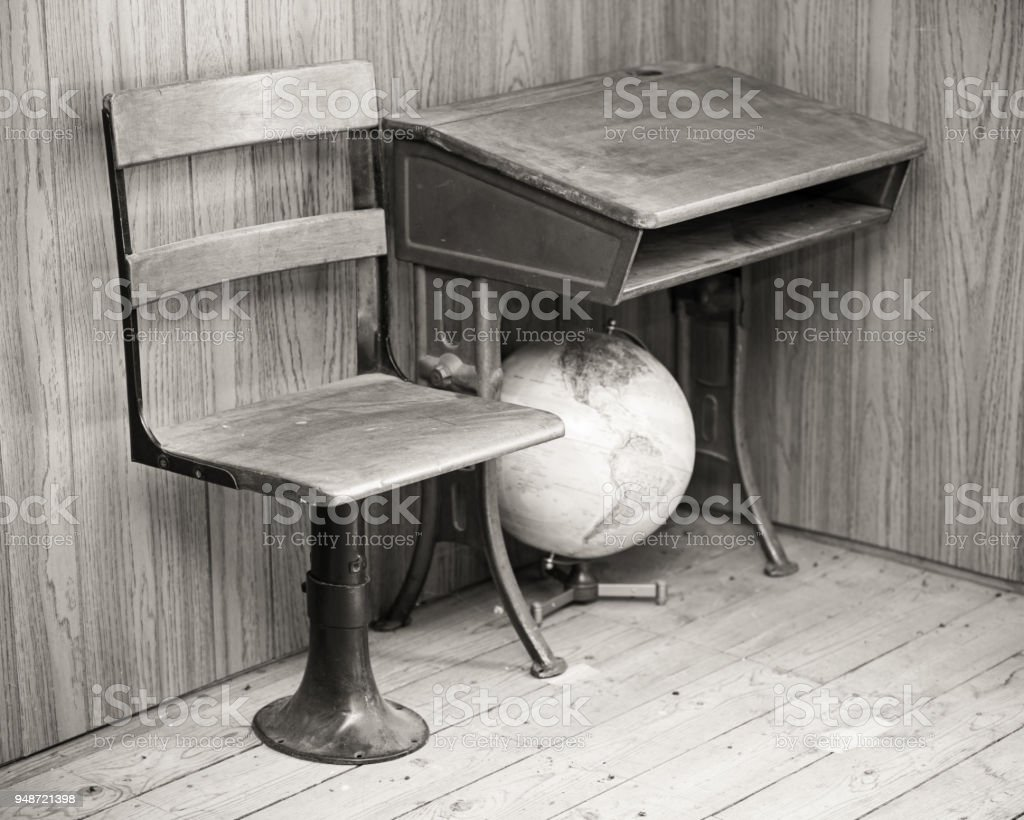 vintage school desk chair and globe stock photo more pictures of - Vintage School Desk With Chair. Best Vintage School Chair Products