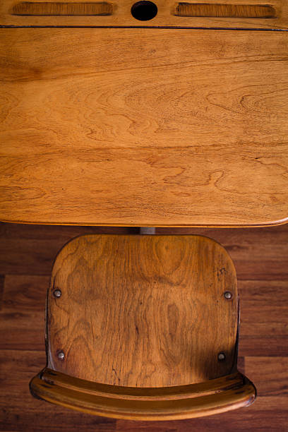 Vintage School Desk Sitting On Hardwood Floor, Overview stock photo