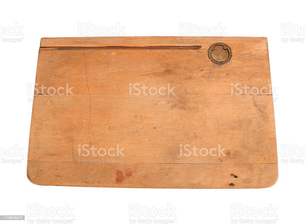 Vintage School Desk Top Stock Photo