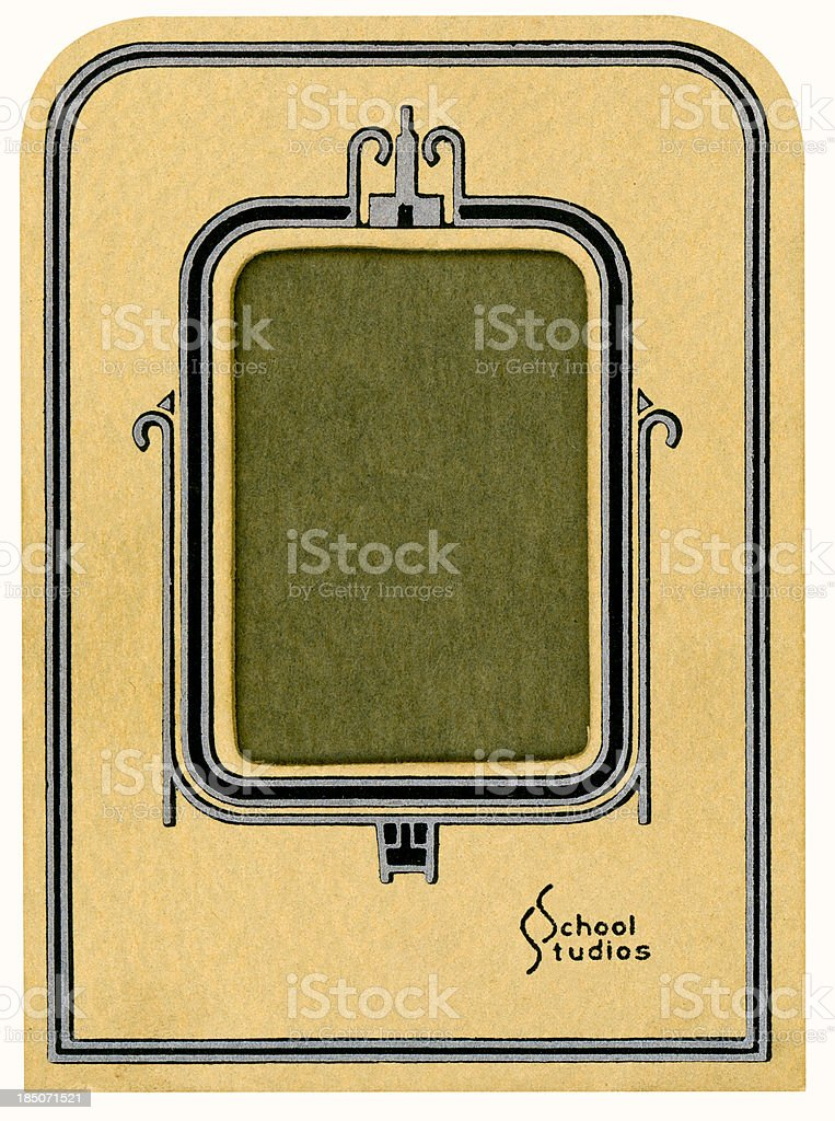Vintage School Studio Portfolio Picture Frame Isolated with Clipping Path stock photo