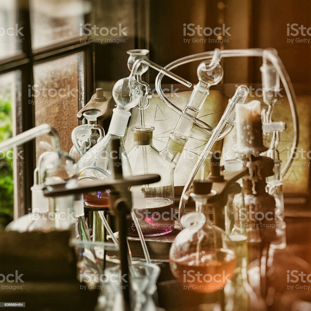Vintage Scientific Laboratory Equipment stock photo