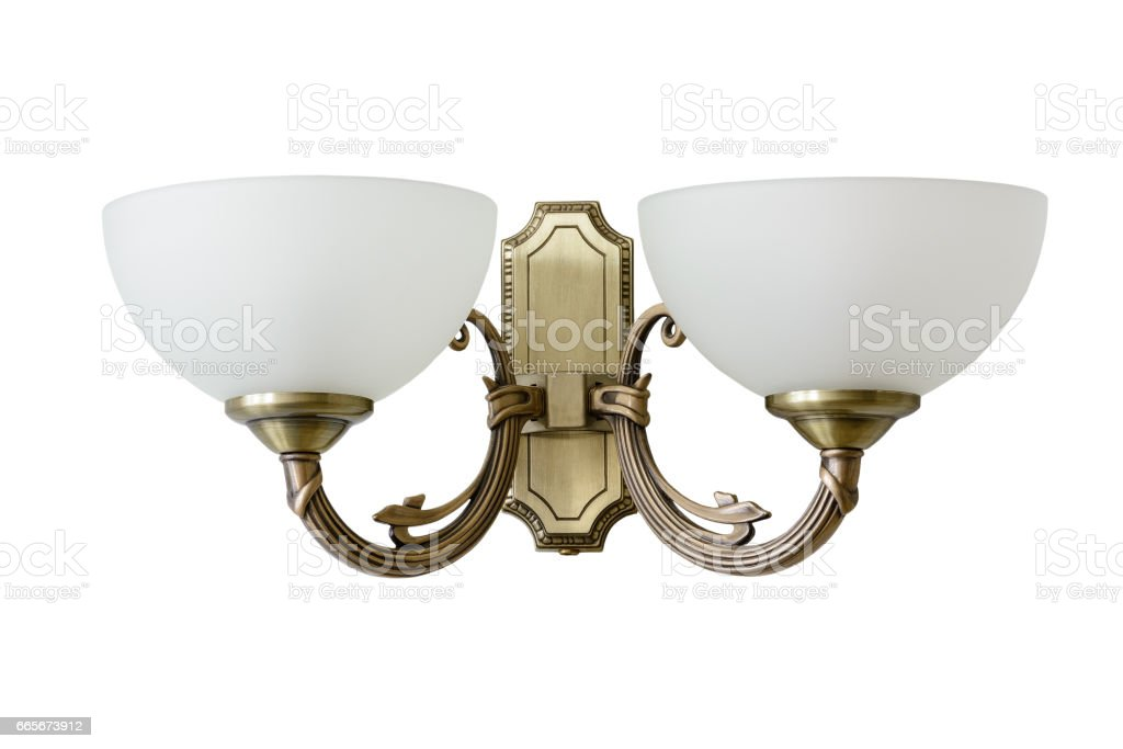 Vintage sconce with white glass shades. Isolated, white background. stock photo