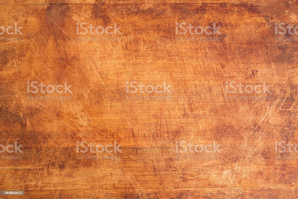 Vintage Scratched Wooden Cutting Board stock photo