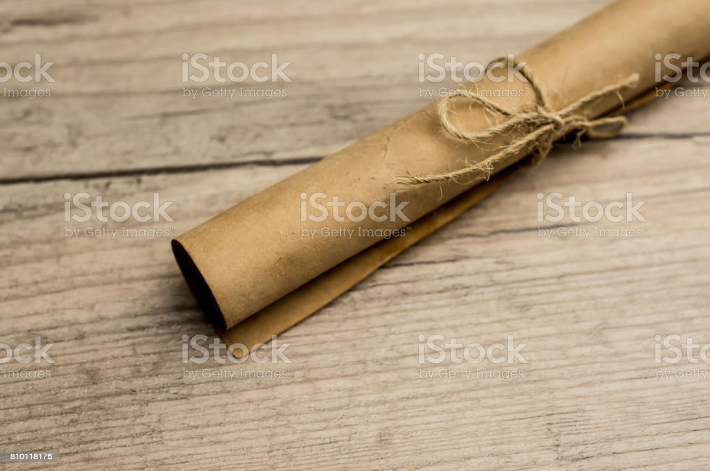 Vintage scroll of paper stock photo