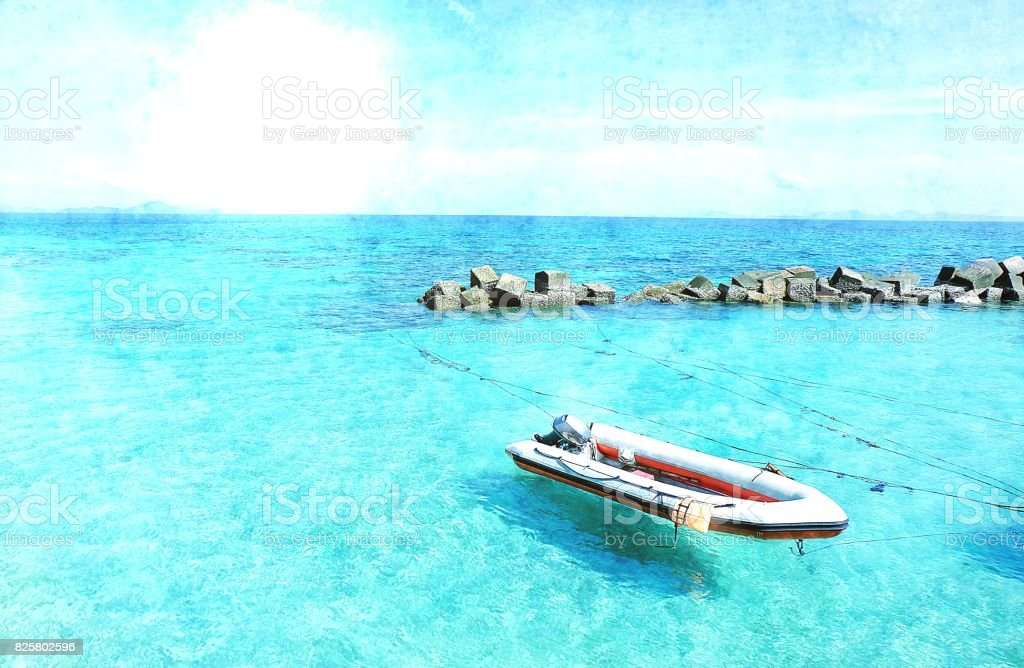 vintage sea blue with boat stock photo