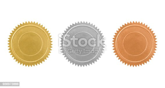 Vintage gold, silver and bronze seals variation isolated on white