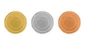 Vintage gold, silver and bronze seals variation isolated on white - clipping path included