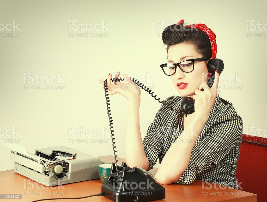 Vintage Secretary on the Phone royalty-free stock photo
