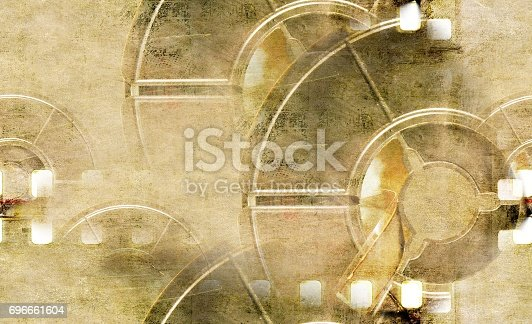istock Vintage sepia film strip frame with coil. 696661604