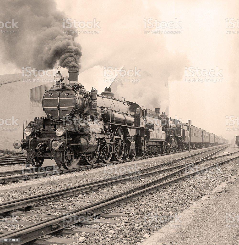 Vintage sepia photo of a steam locomotive stock photo
