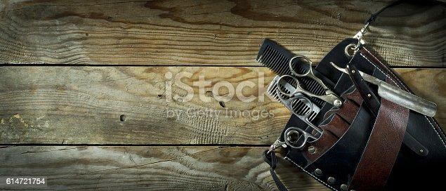 istock Vintage set of Barber. 614721754