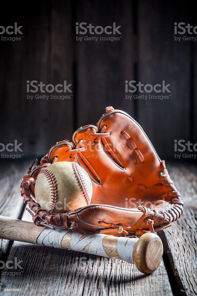 Vintage set to play baseball.