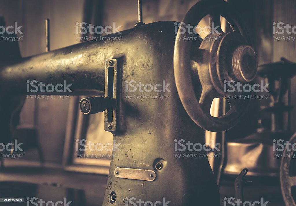 Vintage sewing machine stock photo