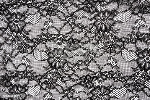 Closeup of vintage floral black sexy lace