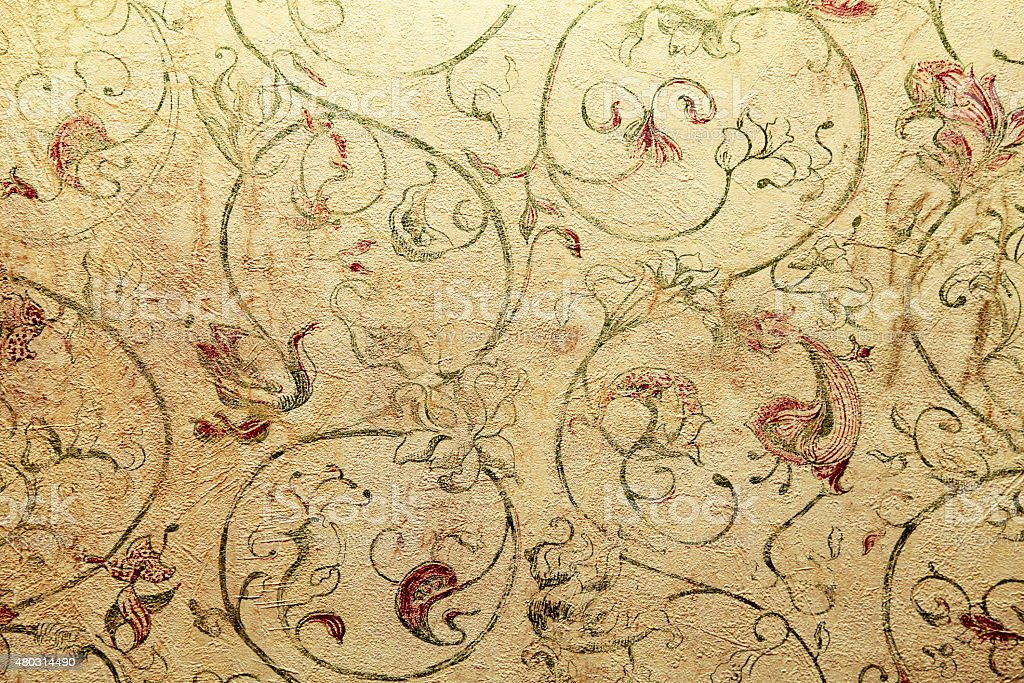 Vintage Shabby Chic Wallpaper With Floral Victorian Pattern Royalty Free Stock Photo