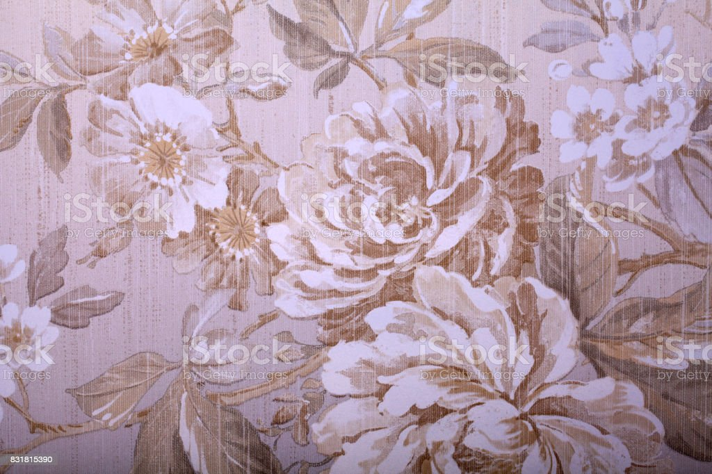 Vintage Shabby Chic Wallpaper With Floral Victorian Pattern Stock Photo Download Image Now Istock