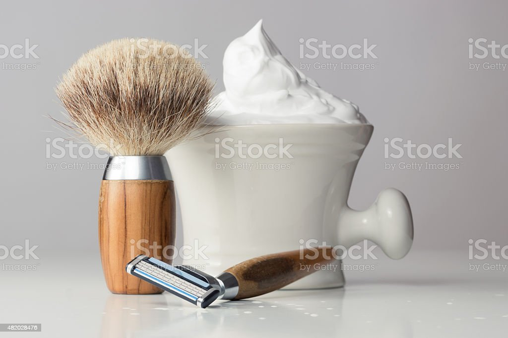 vintage Shaving Equipment on white Table and bright Background stock photo