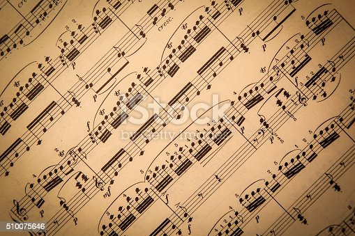 Old classical sheet music has a vintage tone and texture to it; horizontal format