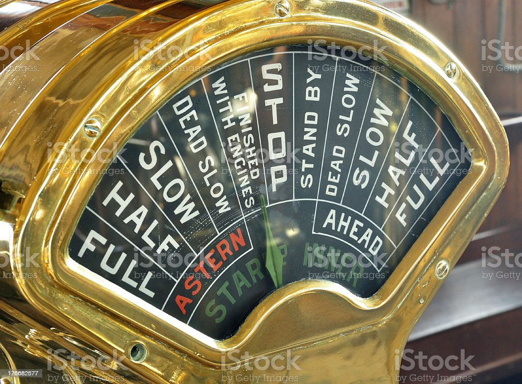 Vintage Ship Engine Control stock photo