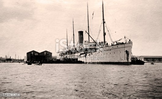 Vintage photograph of an old passenger ship from the 1920s