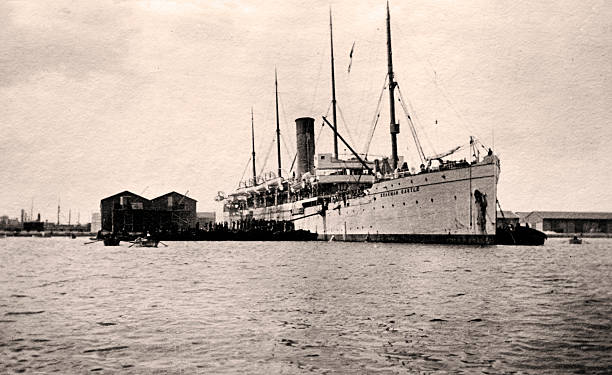 Vintage ship Vintage photograph of an old passenger ship from the 1920s edwardian style stock pictures, royalty-free photos & images