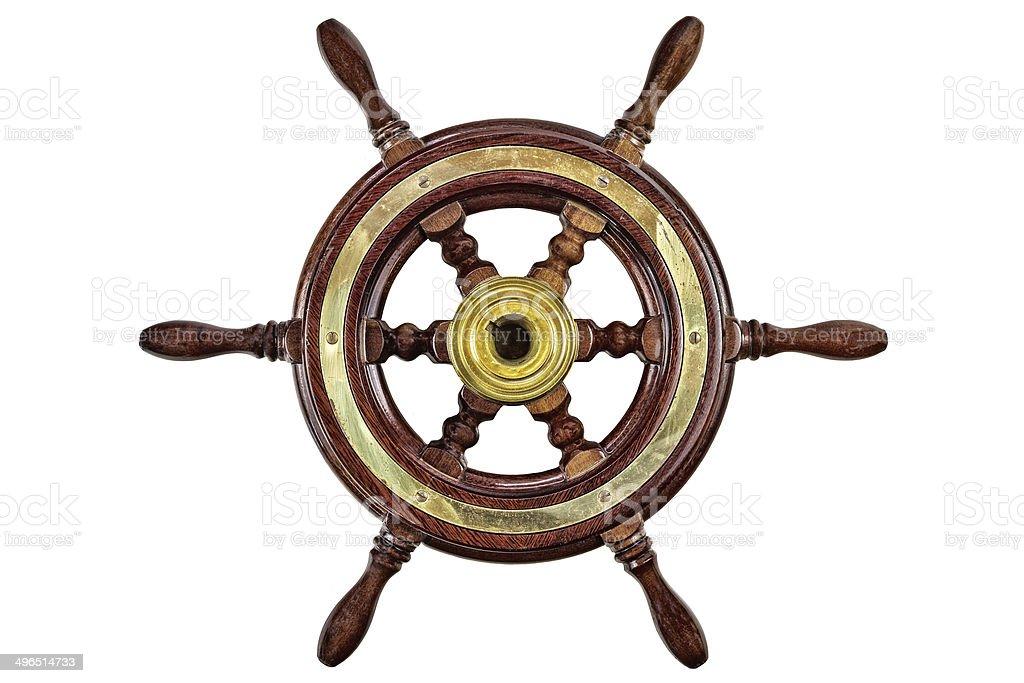 Vintage ship steering wheel rudder isolated on white stock photo