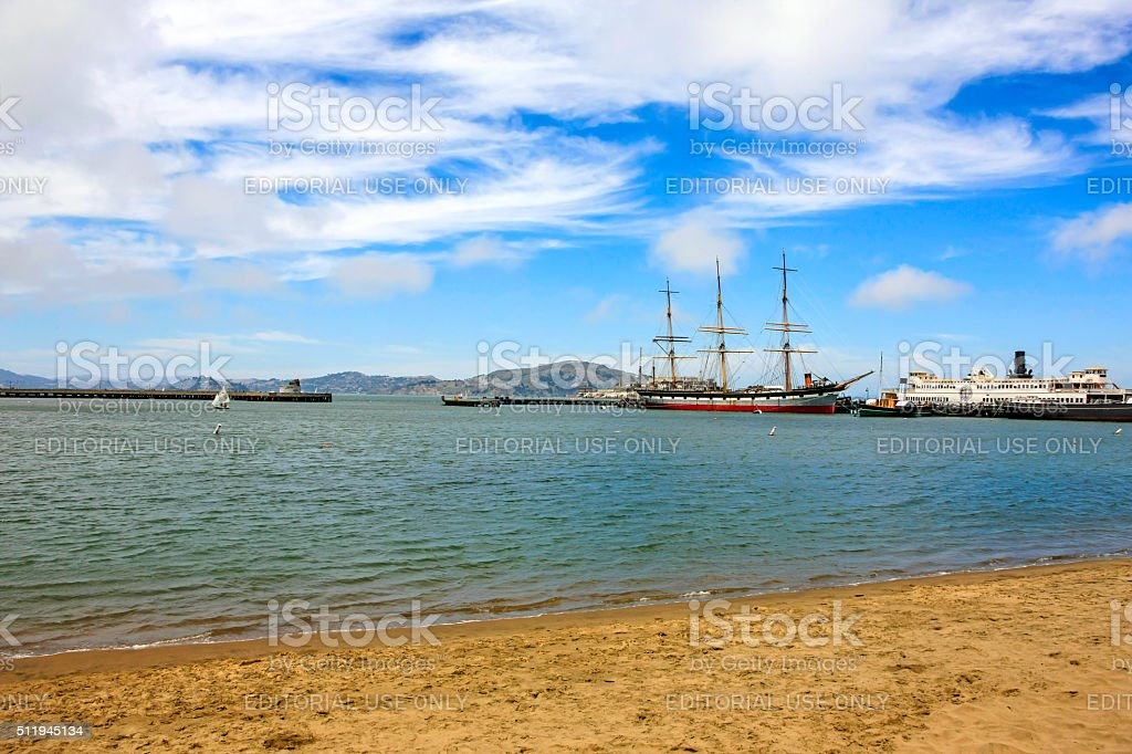 Vintage ships at the San Francisco Maritime Historical Park stock photo
