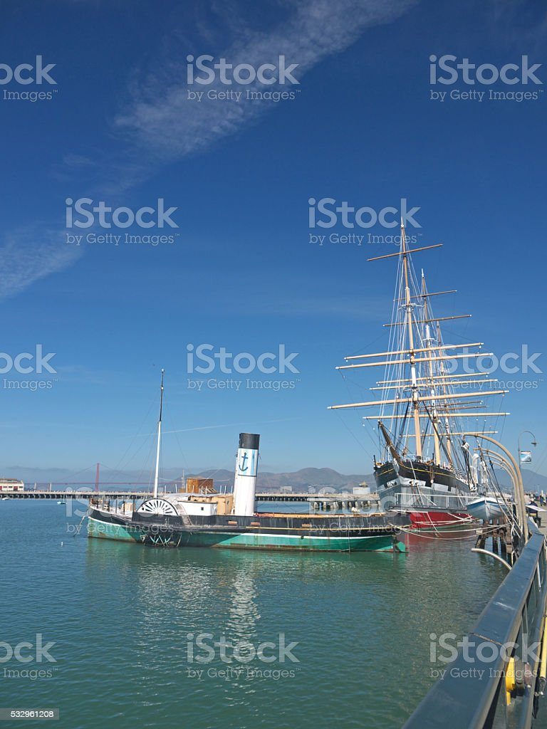 Vintage ships in San Francisco stock photo