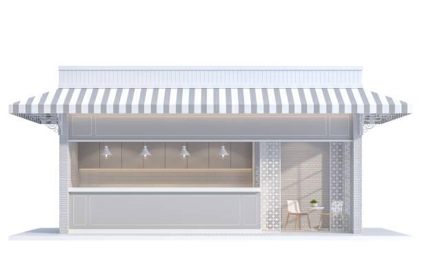 loja na imagem de renderização 3d fundo branco - facade shop 3d - fotografias e filmes do acervo