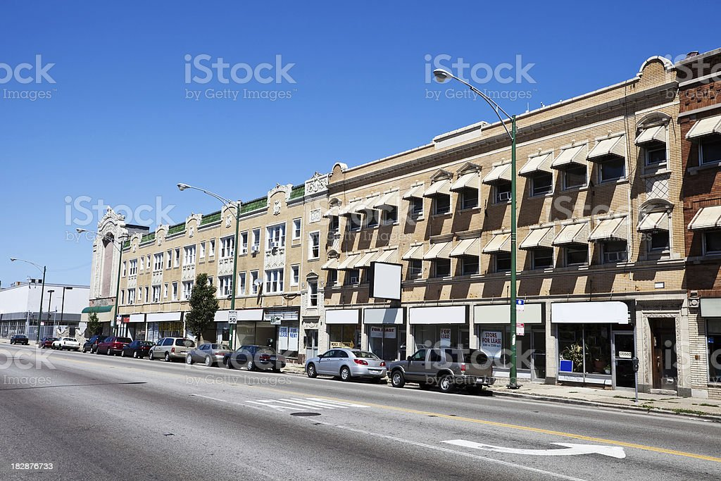 Vintage Shops and Apartments  in Portage Park, Chicago royalty-free stock photo