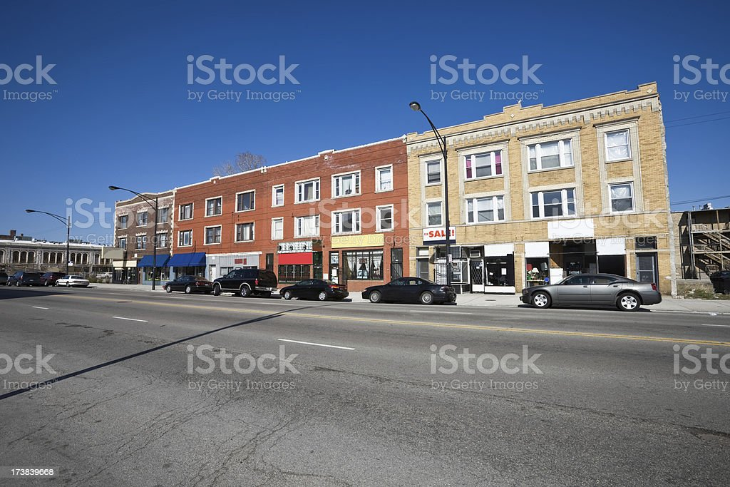 Vintage Shops Chicago South Side royalty-free stock photo