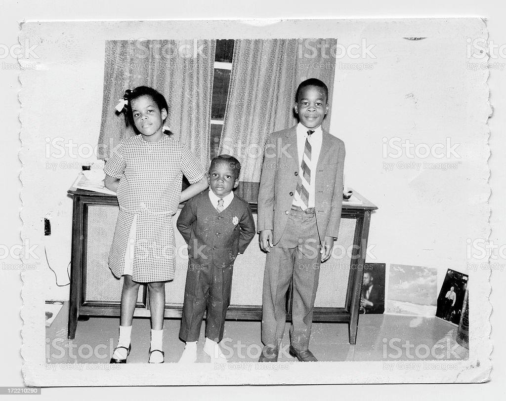 vintage siblings stock photo