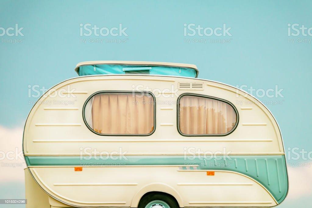Vintage side of a caravan stock photo