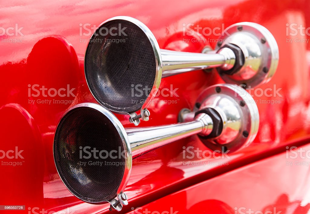 Vintage signal horn on a historic fire truck stock photo